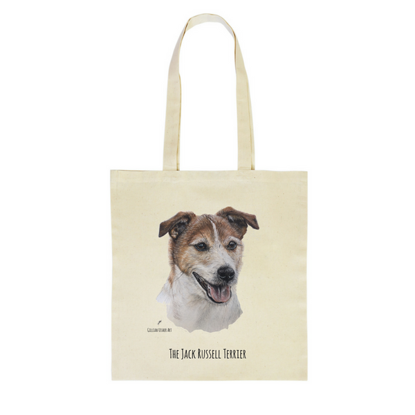 Fairtrade Natural Canvas Jack Russell Terrier Tote Bag