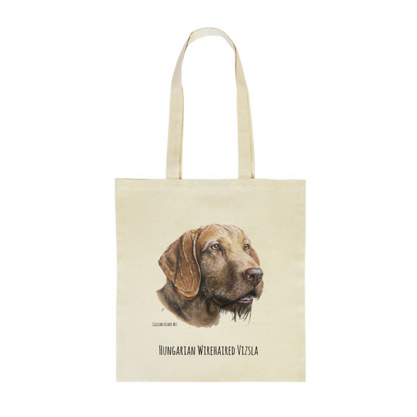 Fairtrade Natural Canvas Hungarian Wirehaired Vizsla Tote Bag