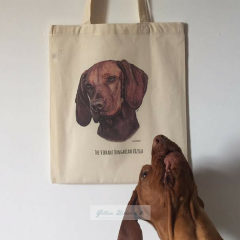 Fairtrade Natural Canvas Hungarian Vizsla Tote Bag