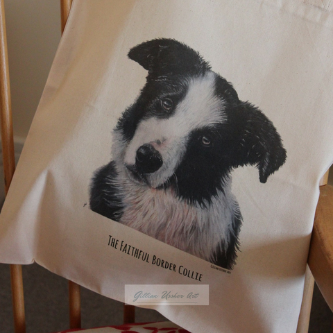 Fairtrade Natural Canvas Border Collie Tote Bag
