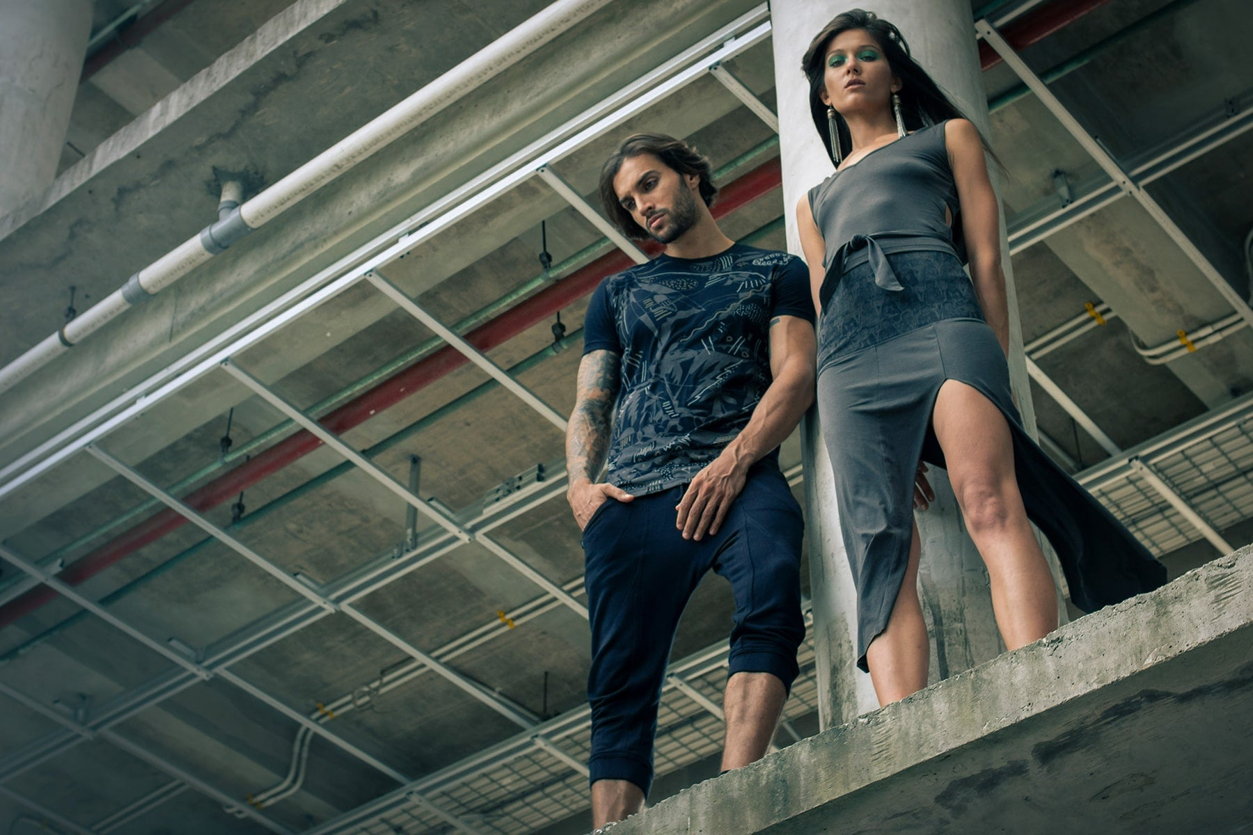 A man and a woman wearing Psylo Fashion ethical alternative clothing