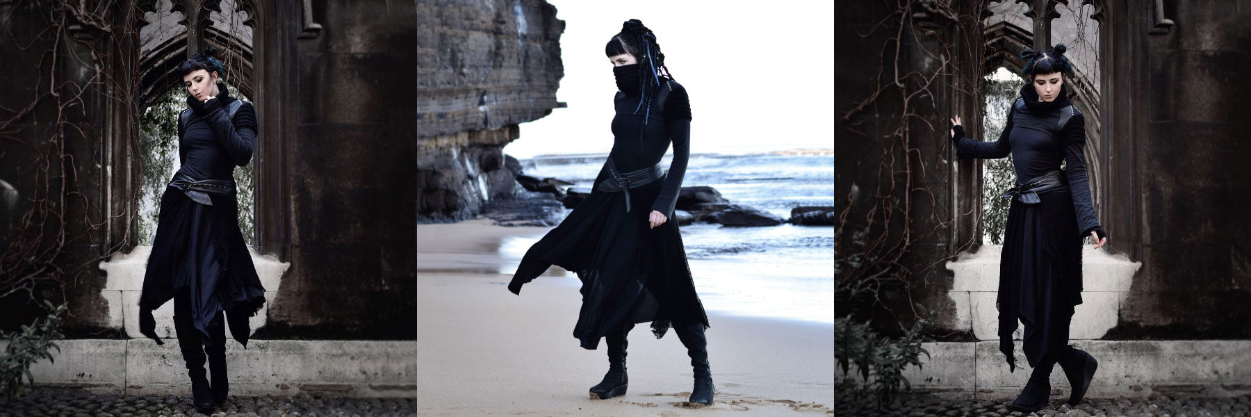 @catinawitchhat for Psylo Fashion the 'Nightblade' dark ninja elf look