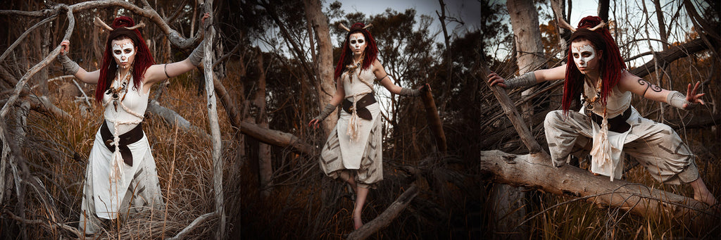 Alice Treloar @catinawitchhat for Psylo Fashion 'Bonespeak Shaman' outfit