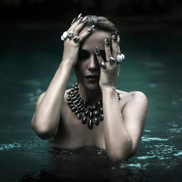 model wearing Custom Therapy statement edgy jewellery