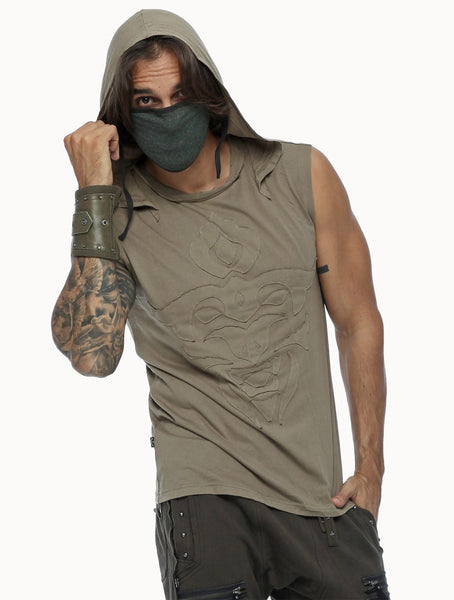model wearing psylo fashion ethical streetwear hoodie and mask