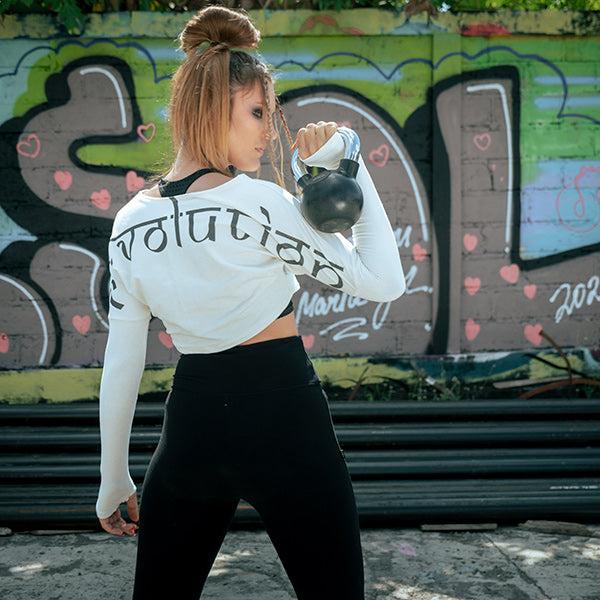 Anastasia wearing our active streetwear Psylo in Motion