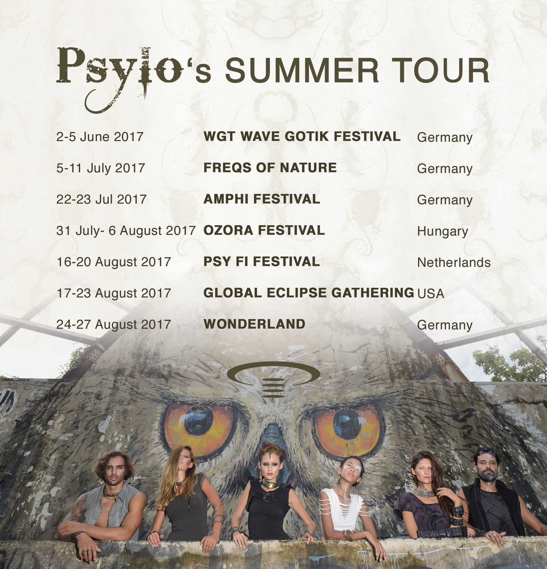 Psylo Fashion Summer 2017 Festivals Tour Dates