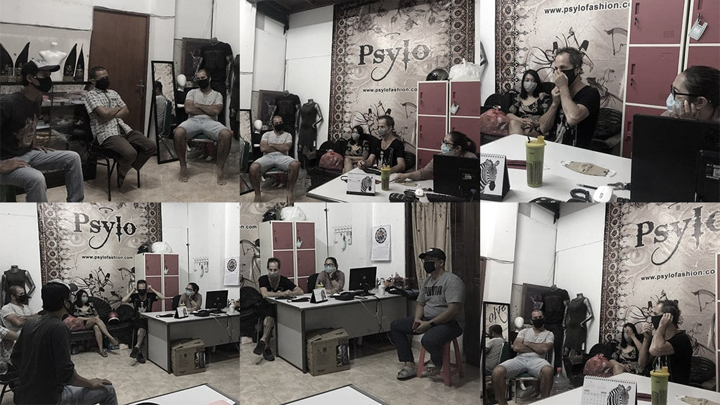 Psylo fashion team meeting at our factory in Bali