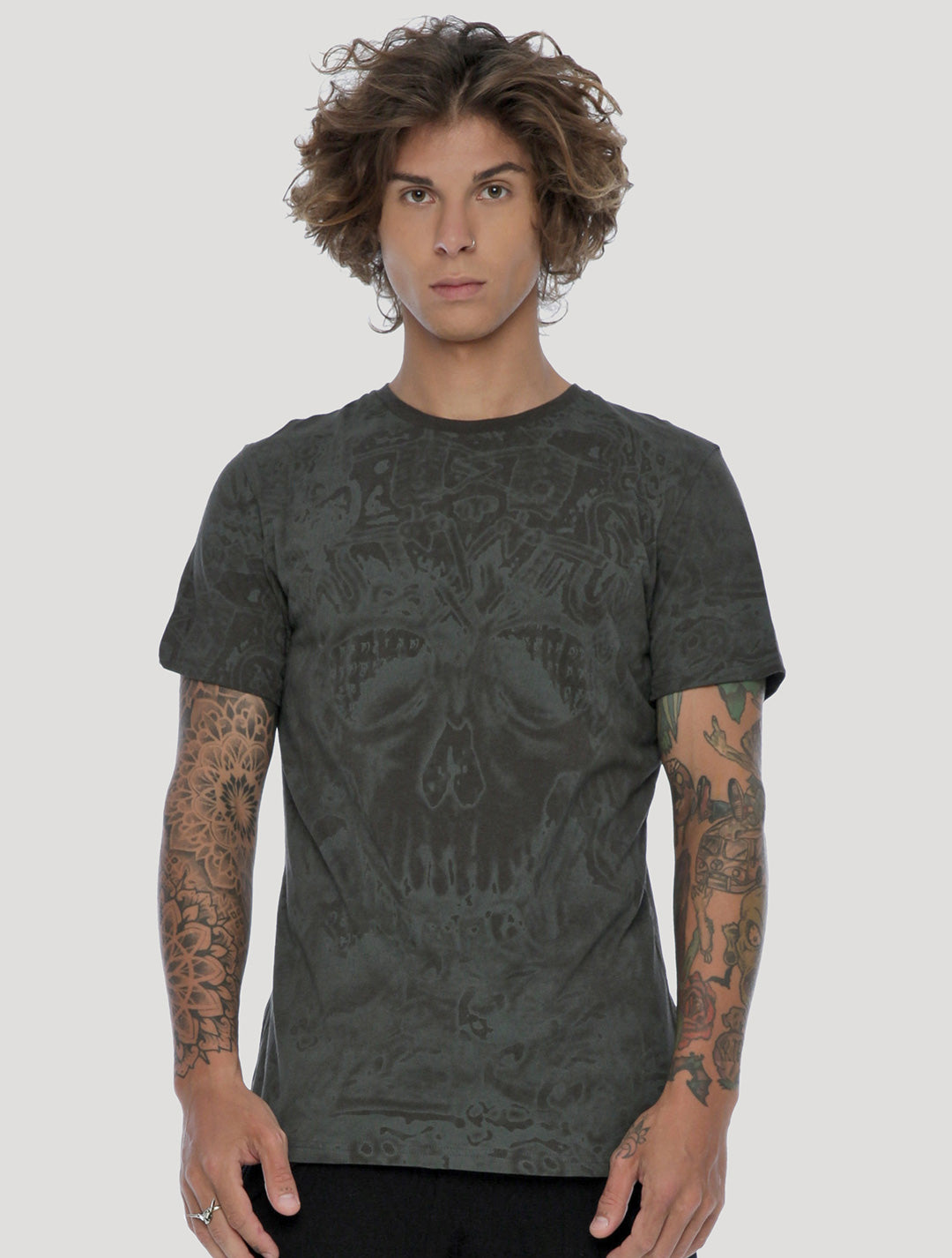 Anunnaki Short Sleeves Tee in olive green - by Psylo Fashion