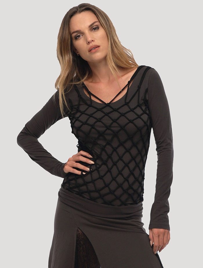 Basket Rmx Long Sleeves Top - Psylo Fashion
