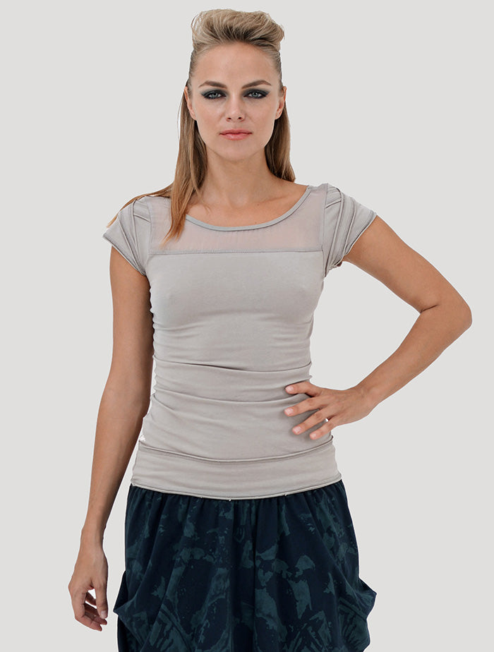 Chiffon Braided Top Short Sleeves - Psylo Fashion
