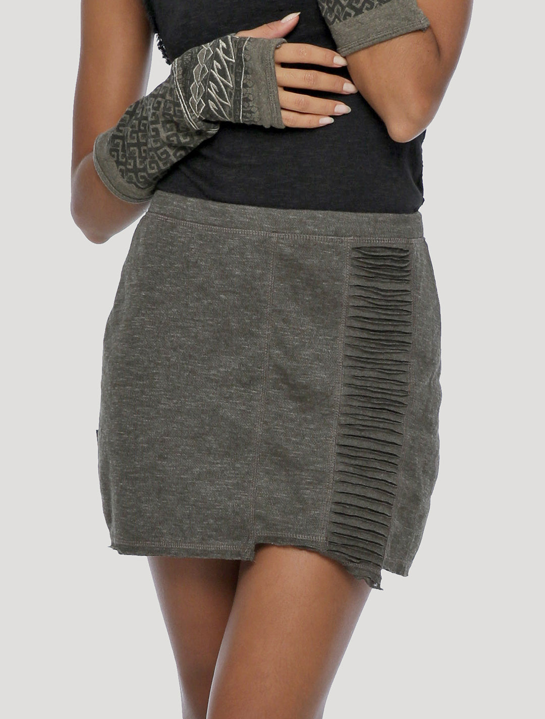 Psylo Fashion ethical alternative streetwear Freque Mini Skirt in grey charcoal