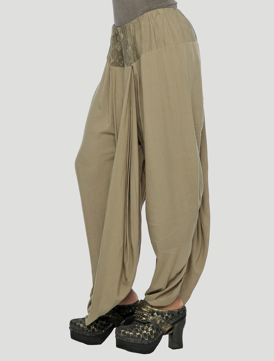 Psylo Fashion ethical alternative streetwear Harem Skirt Pants in camel beige