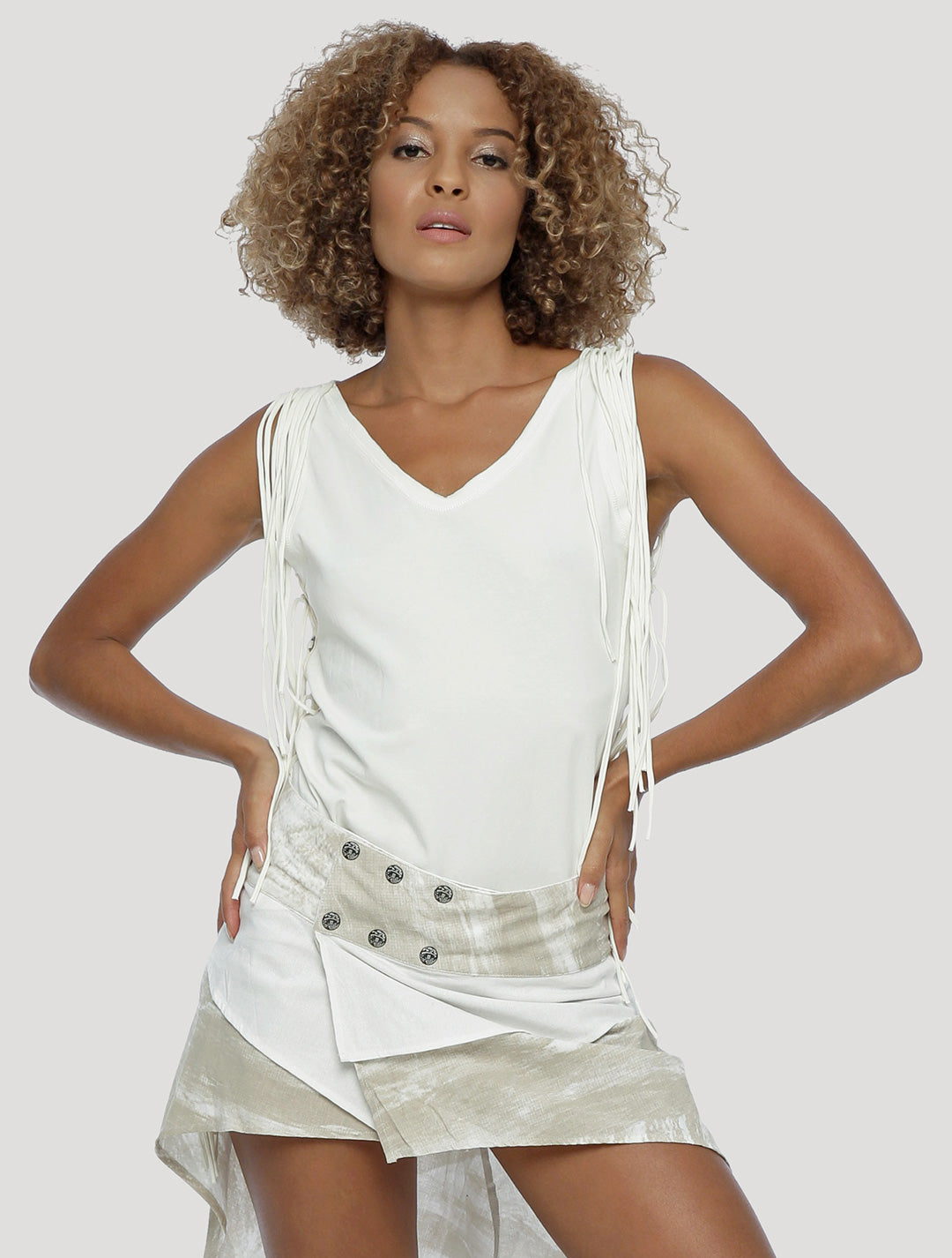 Psylo Fashion ethical alternative streetwear Pisces open-back Singlet in white