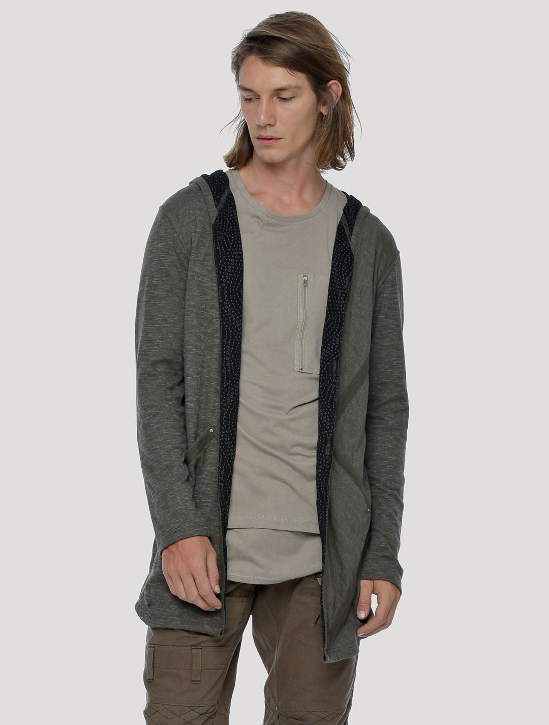 Plumped Hoodie Cardigan Light Coat
