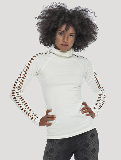 Raffia Long Sleeves Braided Top