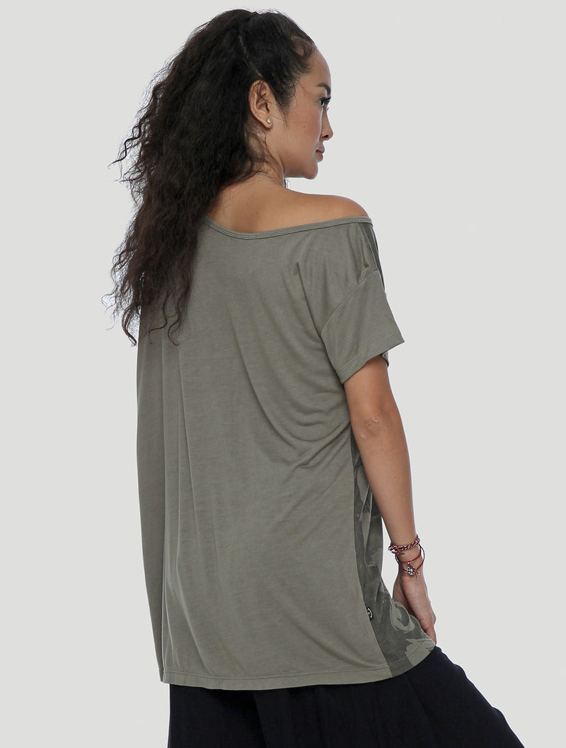 Asymmetrical sheer tunic