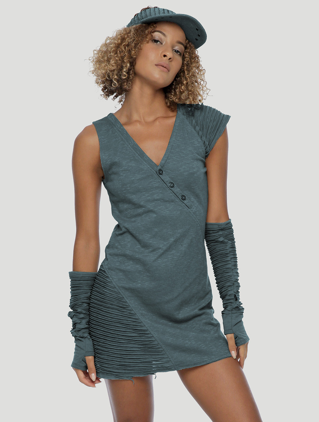 Slashed Asymmetrical Mini Dress - Psylo Fashion