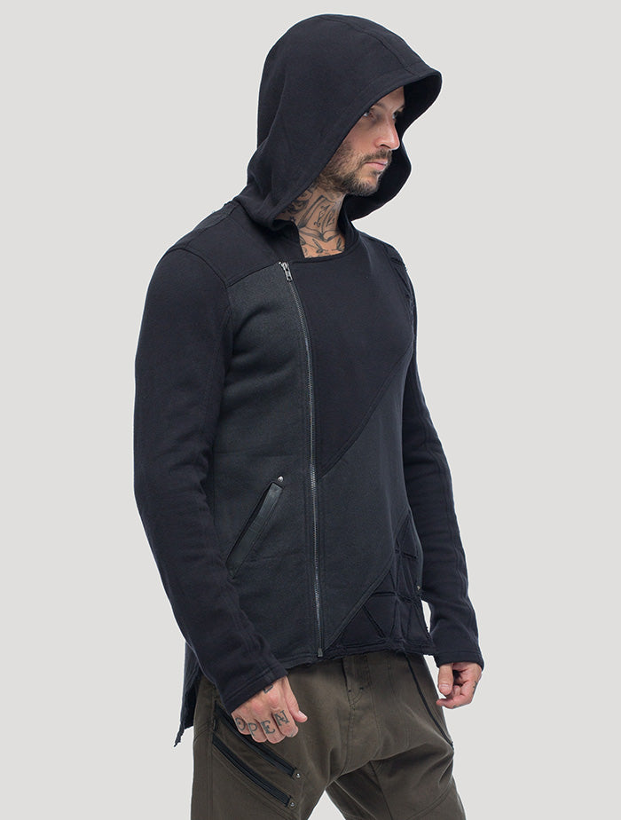 Black Shinobi Hoodie Jacket by Psylo Fashion