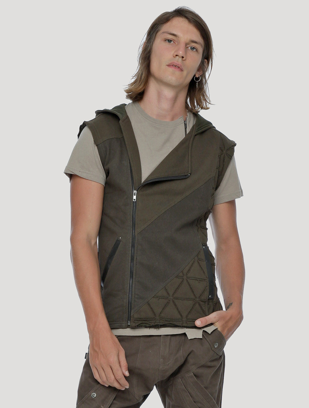 Olive Green Shinobi Hoodie Vest by Psylo Fashion