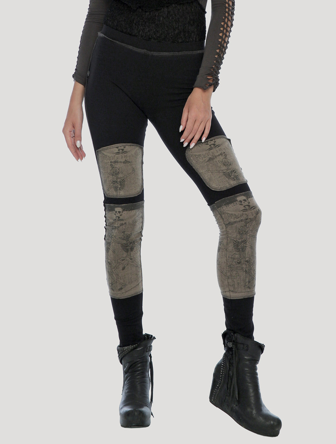 Tibetan Skulls Long Leggings by Psylo Fashion