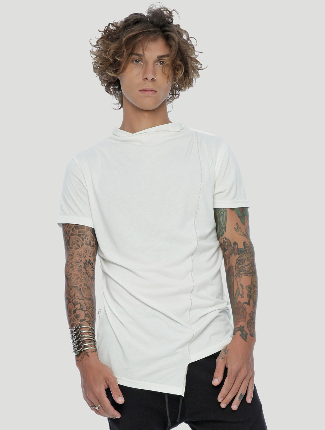 White Tulle Asymmetric Tee by Psylo Fashion