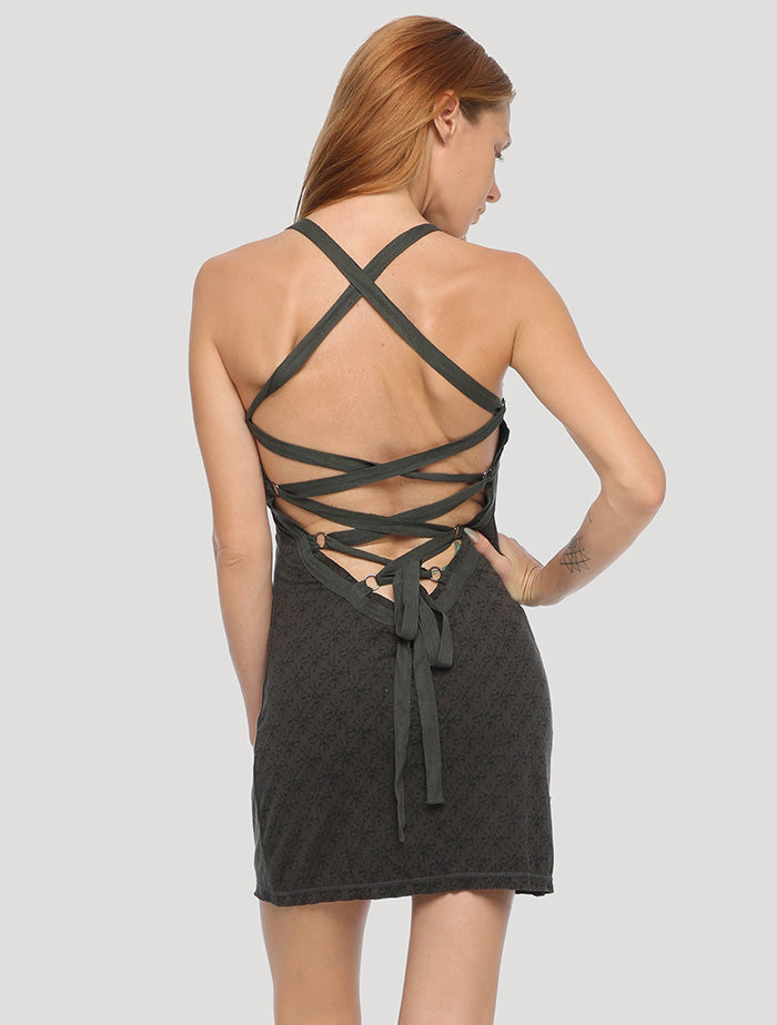 Olive Green Way open-back Backless Mini Dress