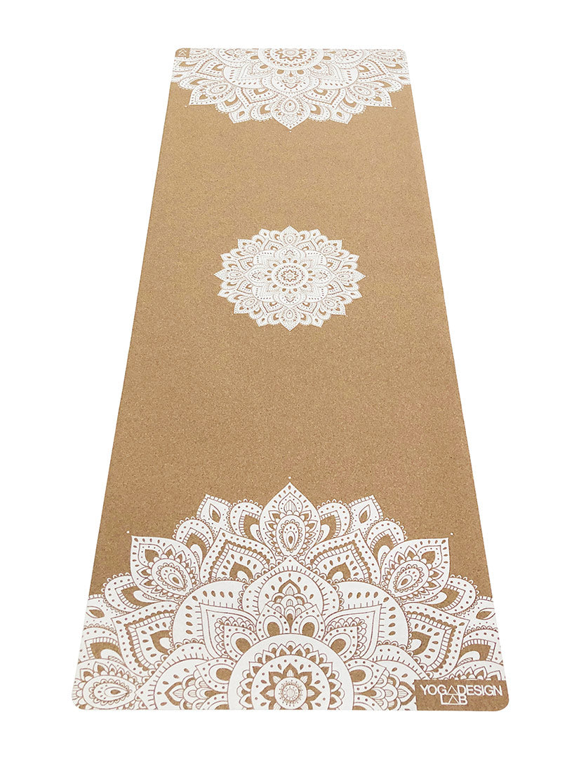 Mandala White Cork Mat by Yoga Design Lab - Psylo Fashion