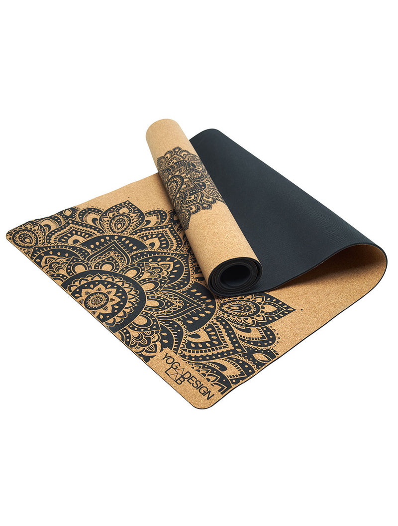 Mandala Black Cork Mat by Yoga Design Lab