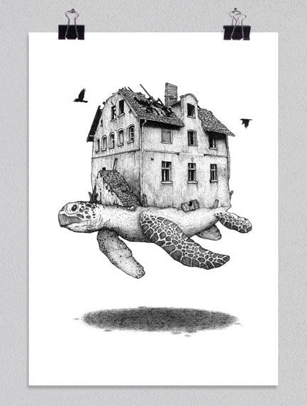 Home and Away / Turtle Art Print by PlazmaLab