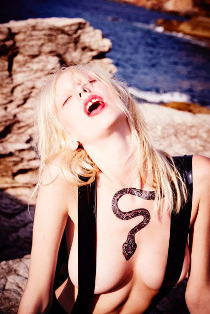 Lily Sumner by Ellen von Unwerth wearing our Snake temporary tattoo