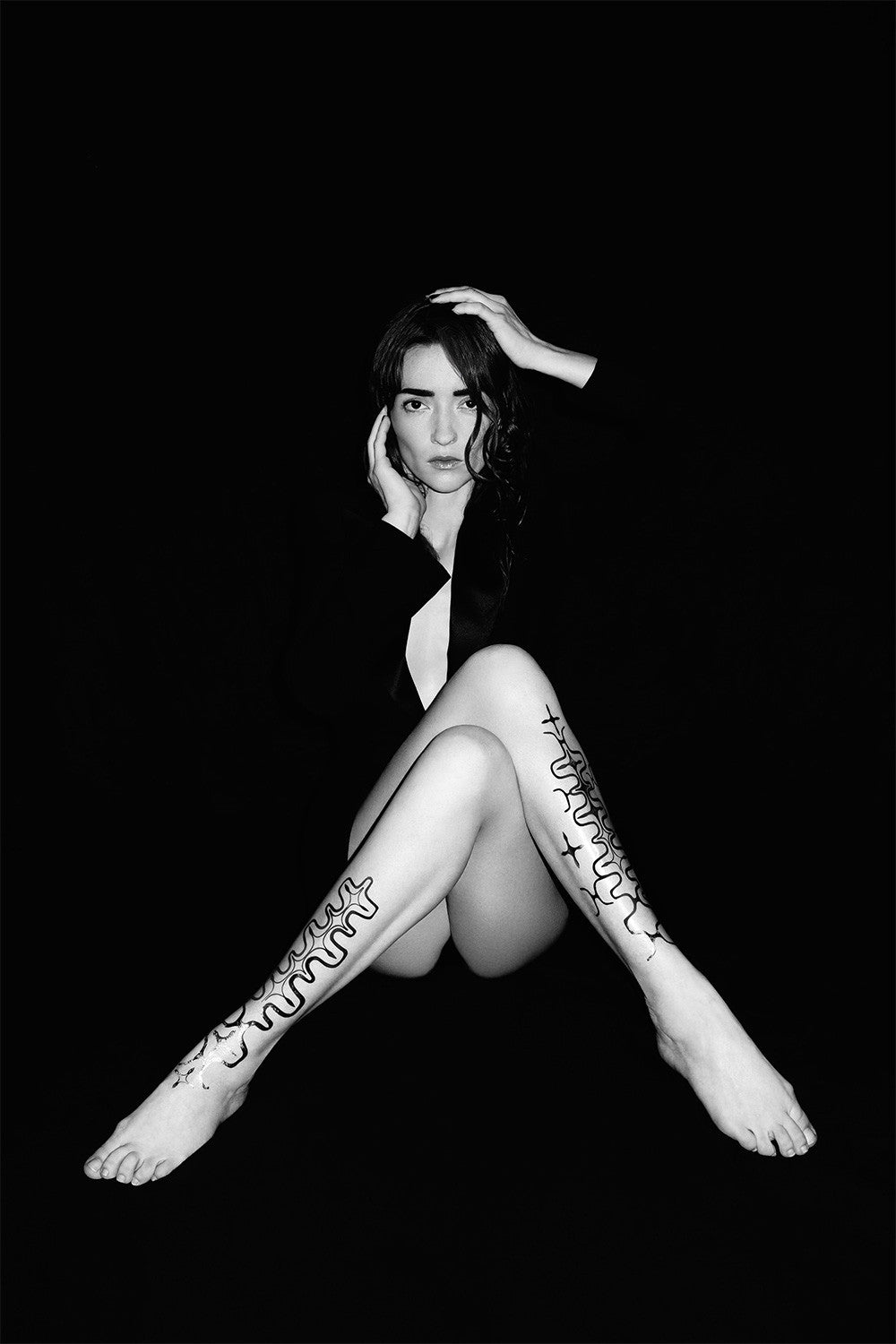 Audrey Marnay by Kate Bellm wearing our modern abstract flash tattoo