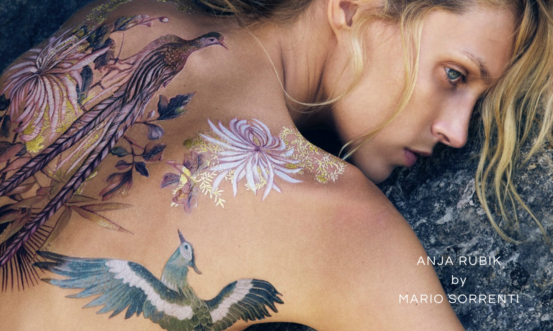 Anja Rubic Mario Sorrenti Bird Temporary tattoo Visual optimism