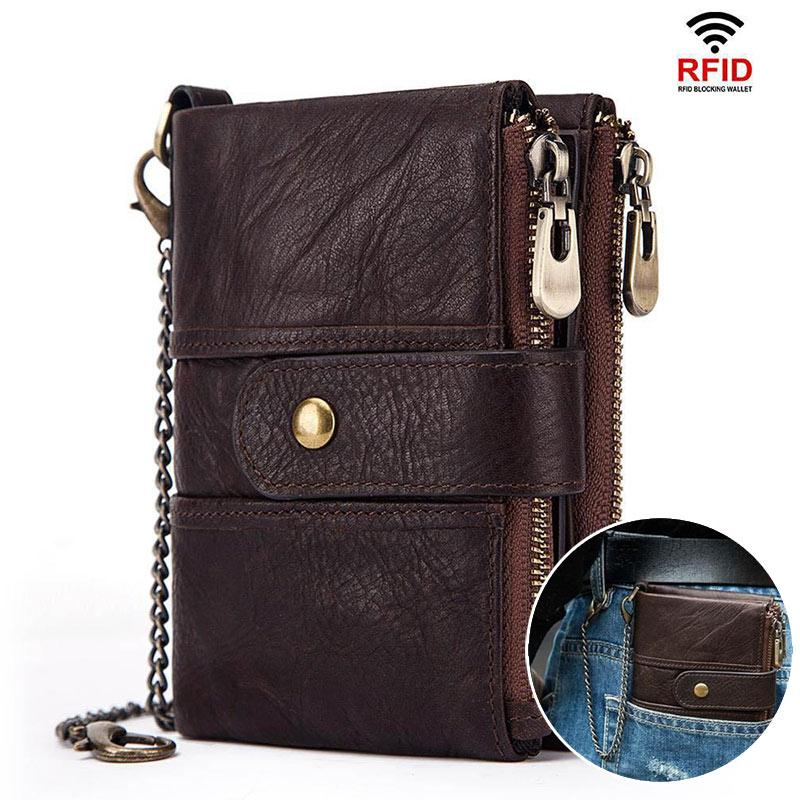 RFID Genuine Leather Wallet Detachable Chain