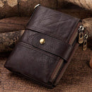RFID Genuine Leather Wallet with Detachable  Chain