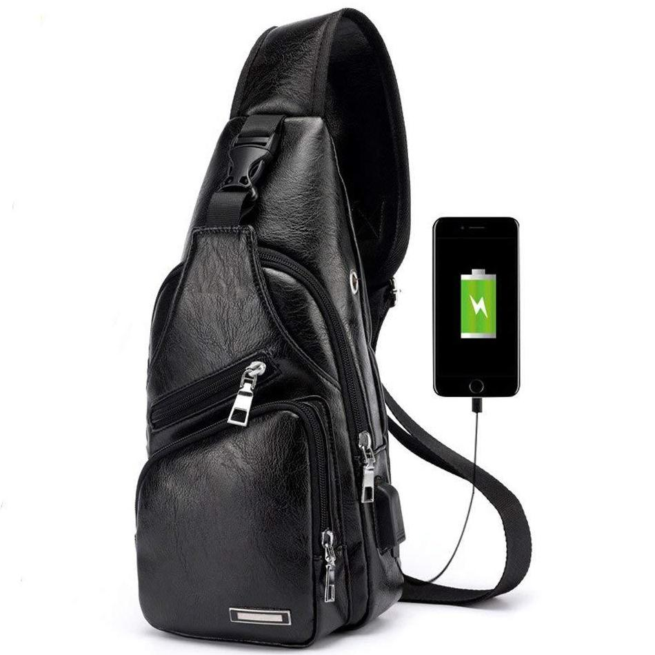 Shoulder Chest Leather Bag with USB Charging - Epic Deal Shop