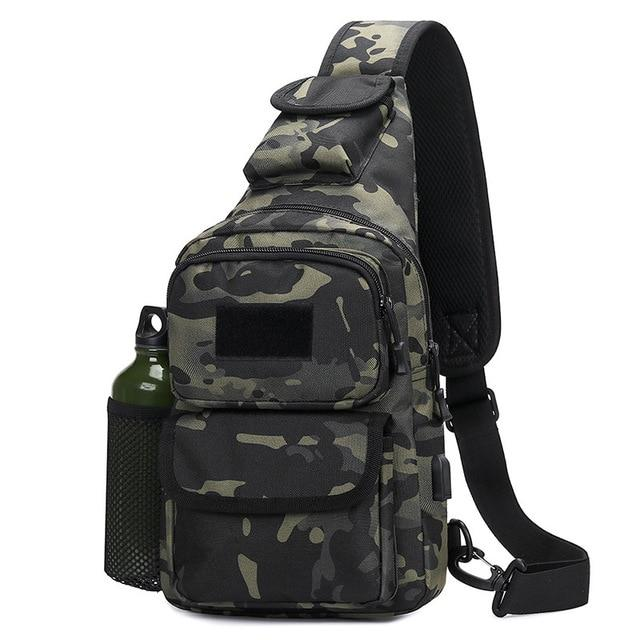 Crossbody Shoulder Military Tactical Bag with USB Charging