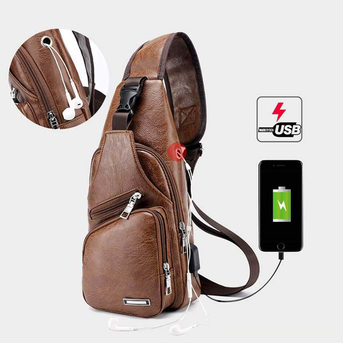 Crossbody Shoulder Bag with USB Charging