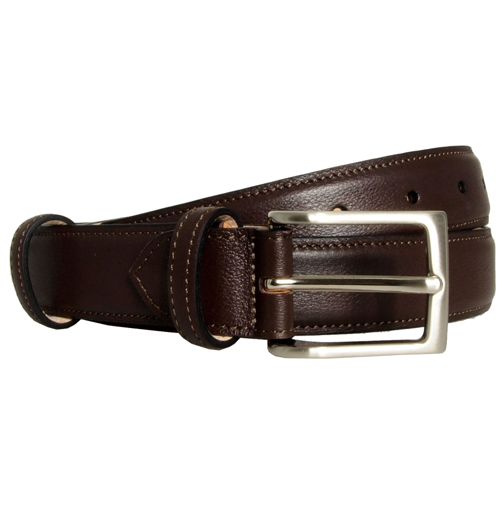 30 mm Sartorial Fine Grain Leather Belt Dark Brown