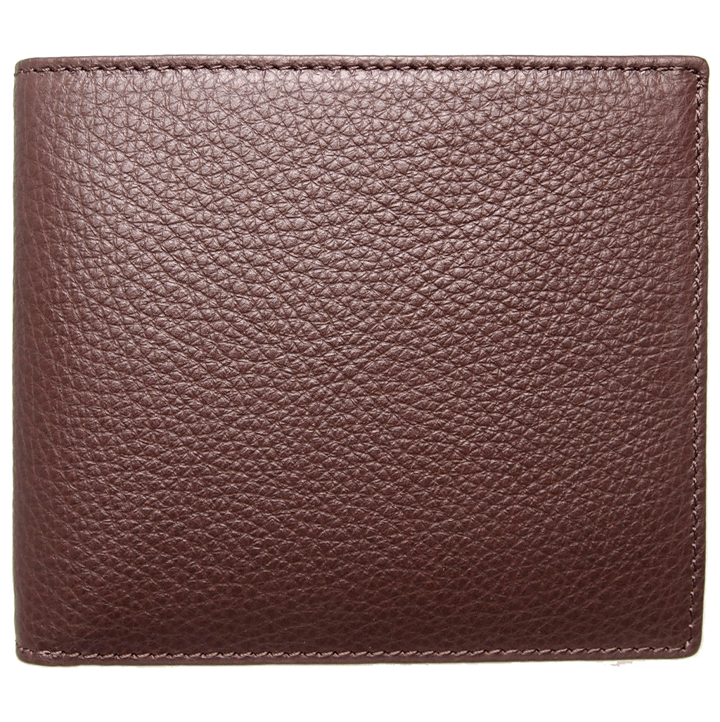 8 CC Small Pebbled Calf Leather Billfold Wallet Brown