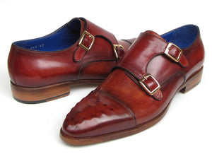 Paul Parkman Men's Double Monkstrap Burgundy Leather (ID#047-BUR)