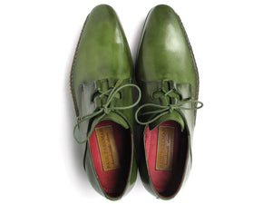 Paul Parkman Men's Ghillie Lacing Side Handsewn Dress Shoes - Green  (ID#022-GREEN)