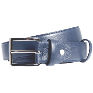 34mm Duo Ply Calf Leather Belt Blue