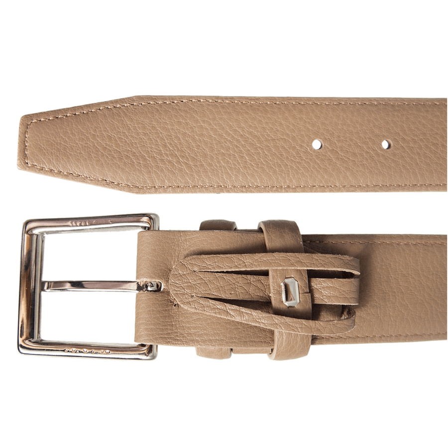 34mm Duo Ply Calf Leather Belt Taupe