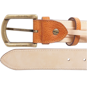 35mm Antiquated Full Grain Leather Belt Tan