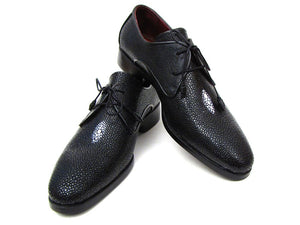 Paul Parkman Full Genuine Black Stingray Goodyear Welted Derby Shoes For Men (ID#84U47)