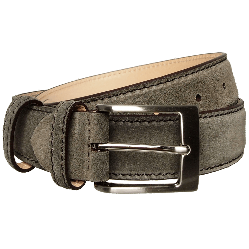 34mm Suede Belt with Lacquered Edge Grey