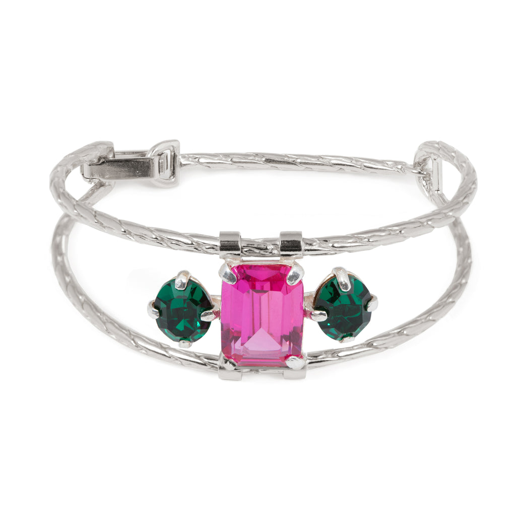Bracelet with fuchsia Corundum and emerald crystal