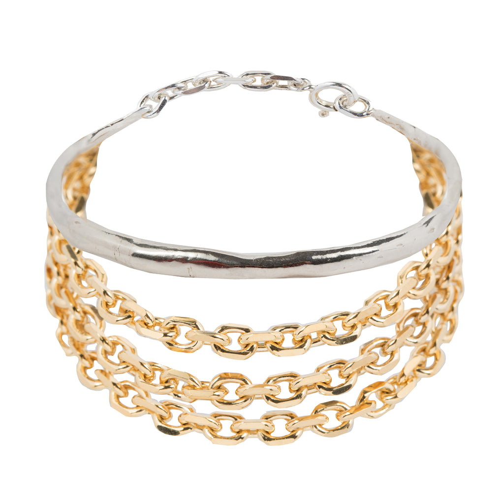 Statement Bracelet with bangle and chunky chains