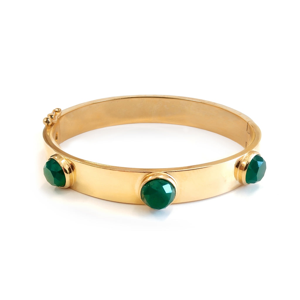 Statement cuff Bracelet with green Agate stones